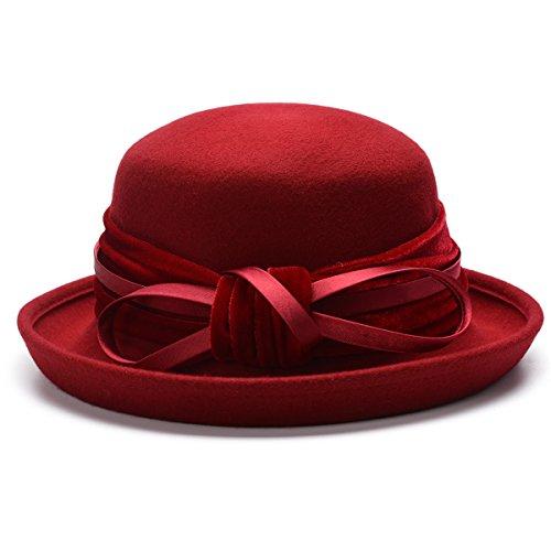 Hat Bowler Velvet (Lawliet Womens 100% Wool Velvet Bowler Hat Church Wedding Felt T281 (Red))