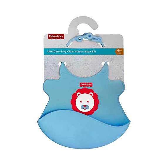 Fisher-Price Ultra Care Baby Bib with Pocket - Waterproof Feeding Bibs for Babies, 4months+ Ideal for weaning Babies