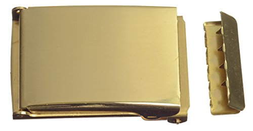 Strait City Trading Men's Solid Brass Fliptop Buckle and Tip for 1-1/4