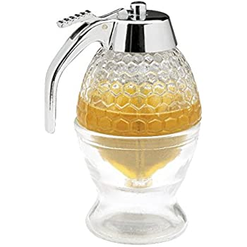 Sweet Bee No Drip Honey Dispenser | Syrup Dispenser | Includes Counter Top Storage Stand