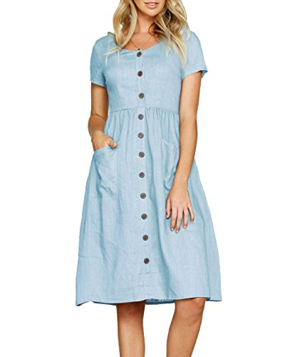 sky Down V Ruffle Mini Bbalizko Blue Loose Neck Cute Dresses Short Sleeve Buttion Z Fit Womens fxg6xw0R