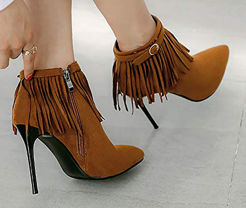 Fringed Women's Mofri High Heel Toe Buckle Yellow Stilettos High Pointed Short Boots Zipper Elegant Ankle xTqnEqgZSw