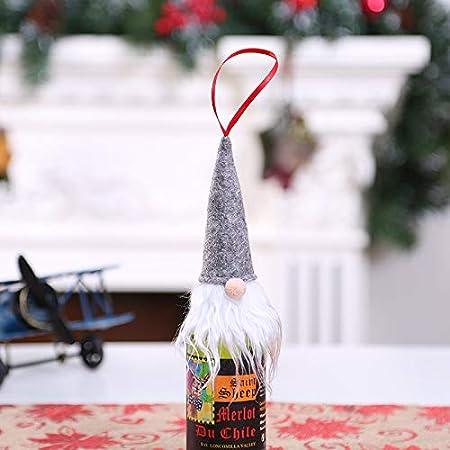 HuXwei Nueva Navidad Champagne Forester Tapa de Botella de Vino Día de Navidad Decoración de Botella de Vino Ornamento de Vestir de Botella de Vino Rojo, Grey Forest Man Wine Cover: Amazon.es: