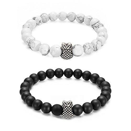 L.Beautiful Distance Couples Bracelets 8mm Beads Black Matte Agate & White Howlite Pineapple Charm Lovers Bracelet,7.5