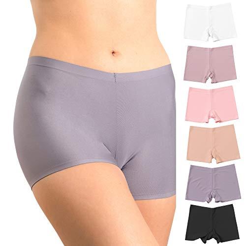 Pretty Sweet Basics Women's Laser Cut Active Boxer Boyshort Brief Pack of 6 (Printed Boyshort Underwear Womens)