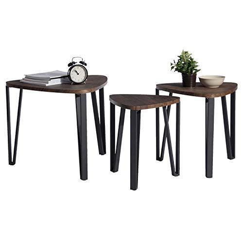 ng Coffee Table Set for Living Room Industrial Stacking End Side Table Leisure Wood Night Stand Telephone Table for Home Office Receving Room Balcony,Brown ()