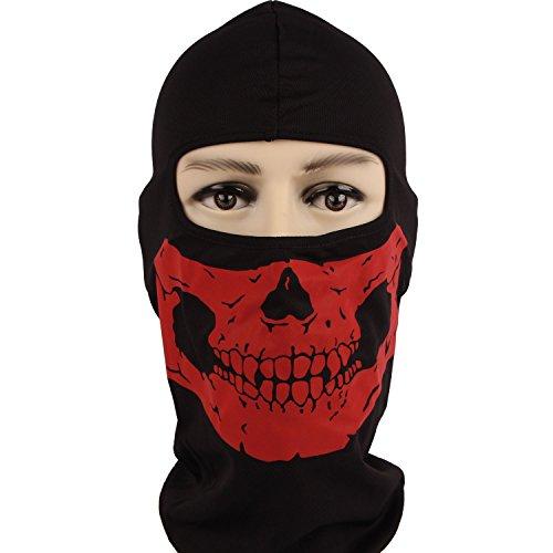 [Rioriva Womens Cosplay Ghost Balaclava Logan Skull Face Mask Cycling Biker Hood (Skull-red),One] (Leopard Cowboy Hat)