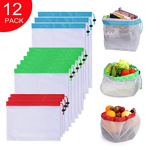Premium Reusable Produce Mesh Bags, 12 Pack Washable Eco Friendly grocery bags with Drawstring For Shopping Storage, Fruit, Vegetable, and Toys