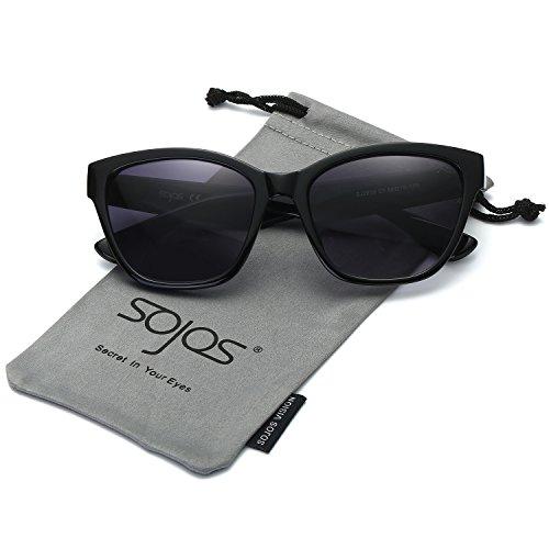 SojoS Classic Cateye Women Sunglasses Plastic 50s Glasses with Rhinestone SJ2030 Black Frame/Grey - Sunglasses 50s