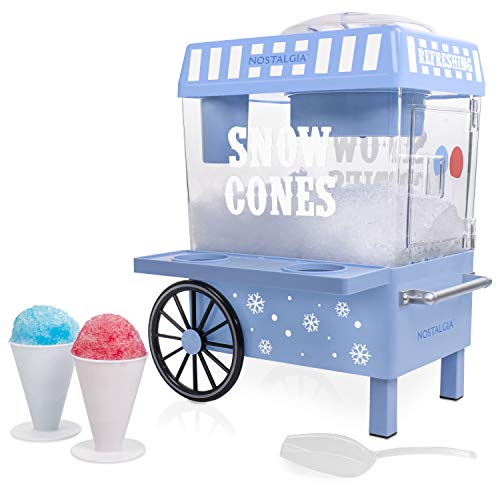 Nostalgia SCM525BL Vintage Countertop Snow Cone Maker Makes 20 Icy Treats, Includes 2 Reusable Plastic Cups & Ice Scoop - Blue