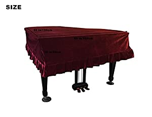 NKTM Pleuche Grand Piano Cover Bordered Dust Protective Cover Cloth 65 x 59 x 20in from NKTM