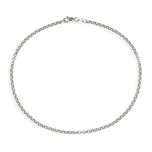 JewelryWeb 10k White or Yellow Gold 10-inch 2.5mm Rolo Chain Ankle Bracelet (white-gold) -