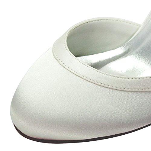 ElegantPark HC1509 Zapatos de tacón Zapato con cierre raso Cerrado zapatos de novia Mujer marfil