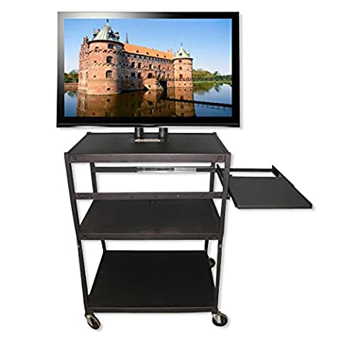 Flat Panel TV Cart with Pull-Out Shelf - Holds up to 42