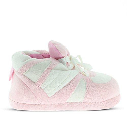 Sleeper'z Rutschfeste Plüsch-Hausschuhe - Pink Weiß