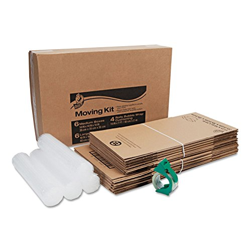 Duck - Moving Kit, 10 Small and Medium Boxes, Packing Tape and Bubble Wrap (Corrugated Box Duck)