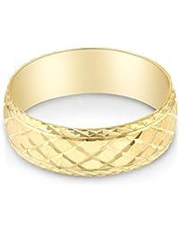 14K Yellow Solid Gold 6mm Diamond Cut Men's Crosshatch Wedding Band