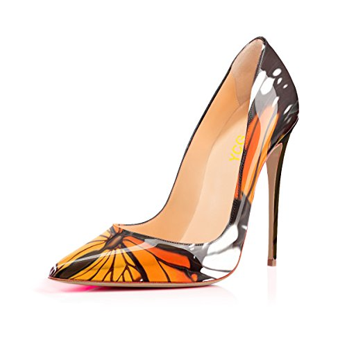 Ycg Women High Heels Pumps Rosso Sangue Stampa Slip On Scarpe Farfalla Arancione