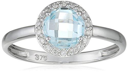 Indygo-Bague Femme Plaqué Argent Diamant 0.072Cts Blanc Topaze-9V09r01tb