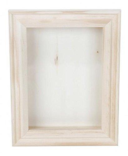 Darice 9184-76 Natural Wood Shadow Box Frame, 5-Inch, White]()