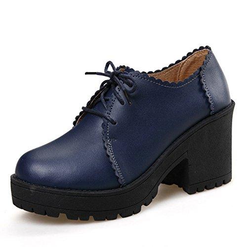 Heels Schuhe Frühling Heel Schuhe Von Schuhe England Leder Chunky Verdicken Sie Ferse Mittlere Plateauschuhen High Freizeitschuhe Leder tSIqI8r