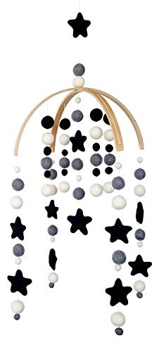 Tik Tak Design Co. Baby Crib Mobile – 100% NZ Wool Colored Felt Ball Mobile for Your Boy or Girl Babies Bed Room – Designer Colors to Match Your Nursery and Delight Your Child (Monochrome) ()