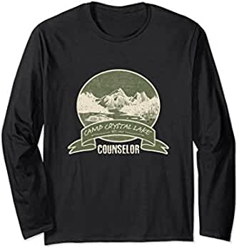 6d9a0970a177 Amazon.com  Unisex Crystal Lake Counselor Vintage Retro Style Gift Long  Sleeve Small Black  Clothing