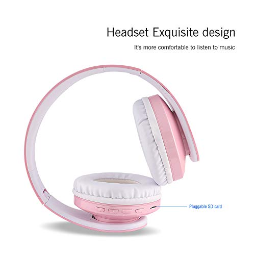 FX-Viktaria Over Ear Headphones, Headset with Microphone, Foldable and Lightweight, Support TF Card, USB Charging Headset, MP3 Mode and FM Radio for Cellphones, Laptop- Powder White
