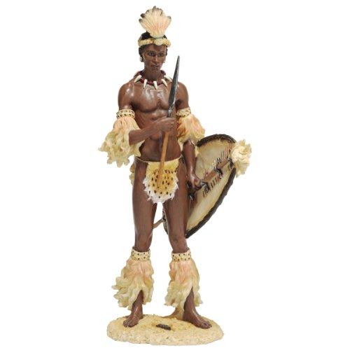 XoticBrands 14 African Tribal Shaka The Zulu Warrior Sculpture Statue