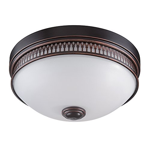 Transitional Frosted Glass (Nuvo Lighting 62/322 Harper LED One Light Flush Dome 20 Watt 1420 Lumens Soft White 2700K KolourOne LED Technology Frosted Glass Georgetown Bronze Fixture)