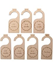 TOYANDONA 7Pcs Wood Baby Closet Dividers Baby Closet Organizers Hanging Closet Dividers for Home Nursery Baby Clothes from Newborn to 24 Months