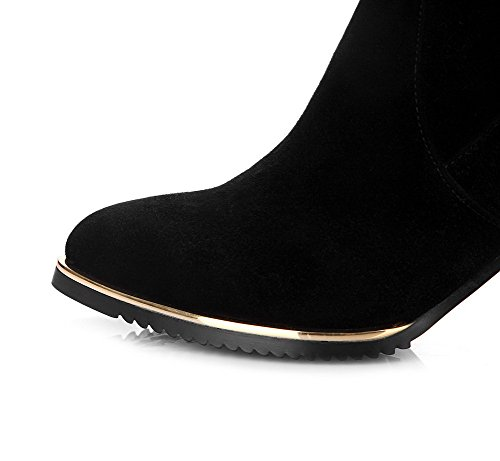 Material Allhqfashion Sole Diamond Slipping Soft Non Heels with High Blend Blackfrosted and Boots Glass Materials Women's H6rqf6I