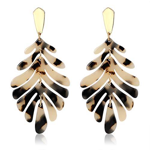 Acrylic Gold Necklace - YINL Acrylic Earring for Girls - Statement Leaf Drop Dangle Earrings Resin Tortoise Earrings Bohemian Leopard Metal Stud Fashion Jewelrys