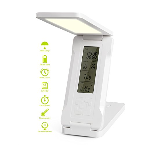 Foldable LED Desk Lamp with 15000mah Power Bank, Elzle Eye-Care Dimmable Touch Control Lamp with 2 Lighting Choices, Alarm/Clock/Calendar/Temperature Display/ Mirror Multi-function Lamps by Elzle