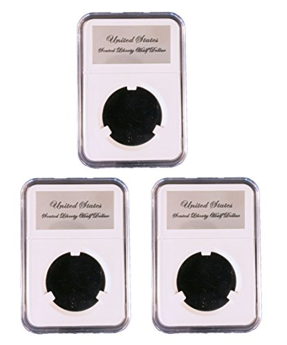 3 Pak Little Bear Elite Certified-Style Coin Holder for Later Reeded Edge Capped Bust Half Dollars or Seated Liberty Half Dollars 1836 - 1891
