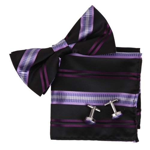 Epoint BT2188 Purple Bowtie Stripes Romance Store Casual Presents Silk Pre-tied Bowtie Cufflink Hanky For Mens Set ()