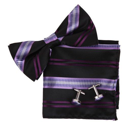 Epoint BT2188 Purple Bowtie Stripes Romance Store Casual Presents Silk Pre-tied Bowtie Cufflink Hanky For Mens Set ()