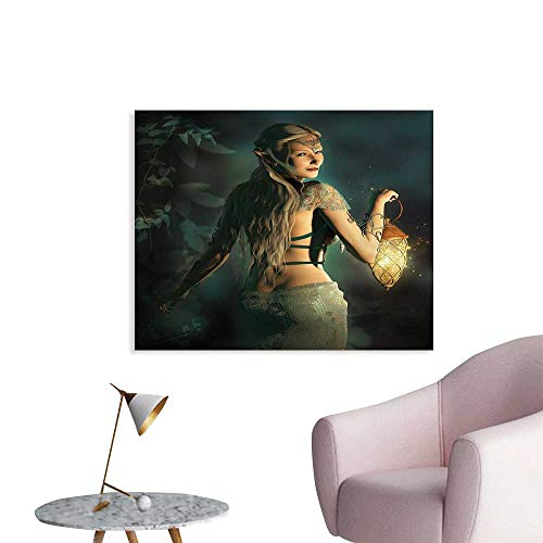 J Chief Sky Fairy Wall Paintings Elf Princes with Lantern in Mysterious Forest Ornamental Elements Enchantment Print On Canvas for Wall Decor W32 xL24