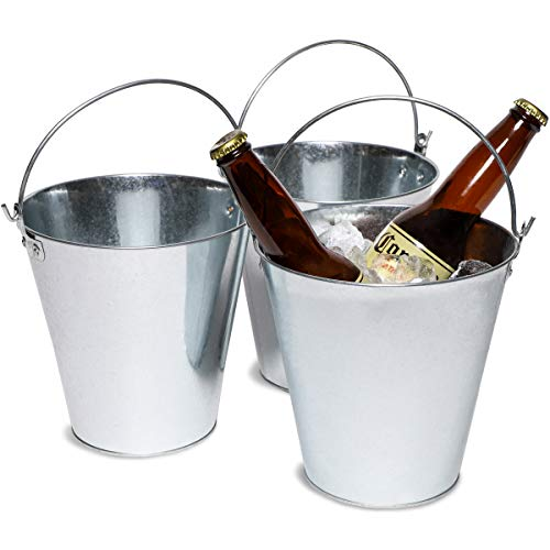 Juvale 3-Pack Galvanized Metal Ice Bucket Pails for Beer, Drinks, and Party Decorations, 7 -