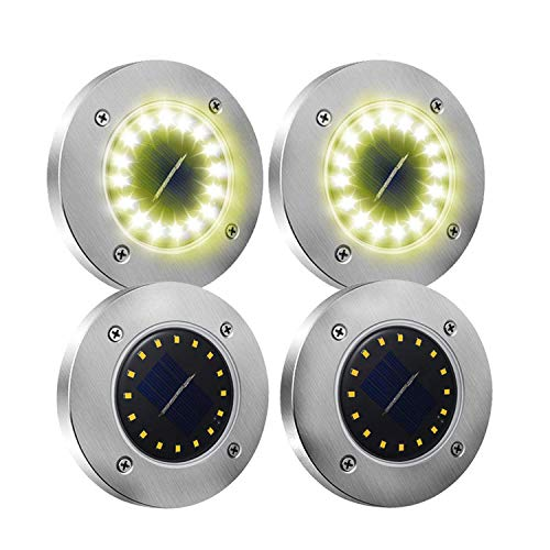 4 Pack Solar Disk Lights, Onesen 16 LED Solar Ground Lights Waterproof Patio Light Underground Sensing Landscape Lights with Dark Sensing for Lawn Pathway Yard Driveway Walkway Pool Area