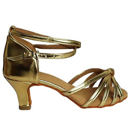 Latino sala Vashcame 7cm Tacco Ballo Ballo Da tacco 5cm Donna standard Scarpe 5cm Nodo Oro RqaqwI