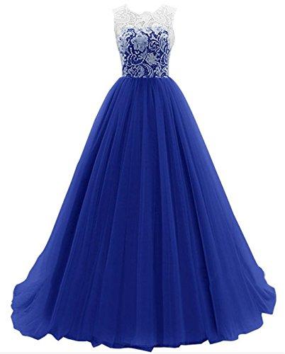 Kleid spitze ruckenfrei blau