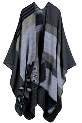 - VamJump Women Winter Cashmere Oversized Blanket Poncho Cape Shawl Cardigan Coat, Black-2, One Size