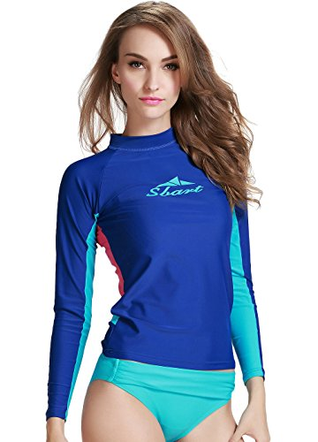 Damen Dunkelblau UV-Shirt Rash Guard Surf Shirt Schwimmen Badebekleidung Long Sleeve S Watersport