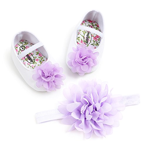 Toddler Baby Girls Shoes Soft Soled Wedding Shoes Ballerina Girls Lace Flower Shoes with Bow Ribbon -