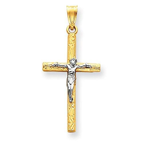 Or bicolore 14carats Crucifix Pendentif-Mesure 31,9x Étiquettes