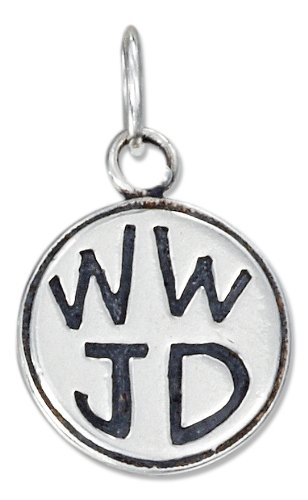 "Sterling Silver Antiqued Round ""Wwjd"" Charm"