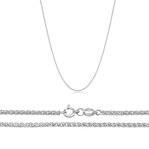 Yellow Gold Spiga Chain - Orostar 14K Solid Gold 0.9mm Wheat Chain, Yellow Gold, White Gold, Rose Gold - 18