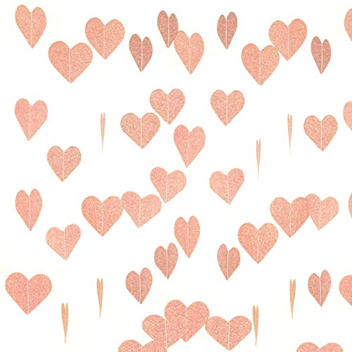 Rose Gold Valentines Party Love Heart Hanging Paper Garlands Decorations Wedding Bachelorette Party Ceiling Hangings Bridal Shower Engagement Party Favors Decorations, 26ft