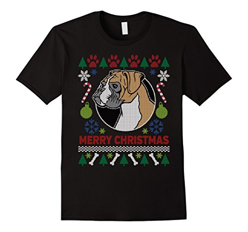 Men's Boxer Dog Breed Owners Ugly Christmas T-shirt 2XL